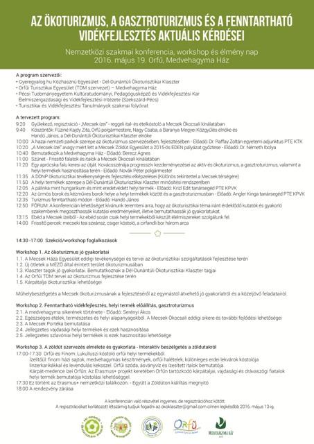 """""""Az ökoturizmus, a gasztroturizmus és a fenntartható vidékfejlesztés aktuális kérdései""""  – Nemzetközi szakmai konferencia, workshop és élmény nap"""