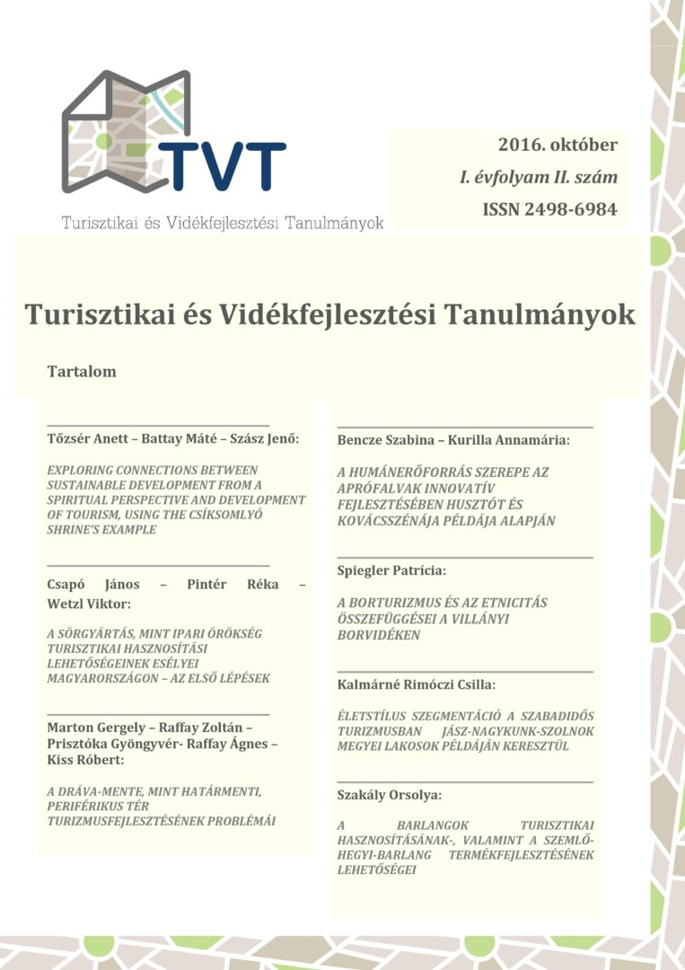 """Megjelent a """"Turisztikai és Vidékfejlesztési Tanulmányok"""" I. évfolyam 2. száma"""