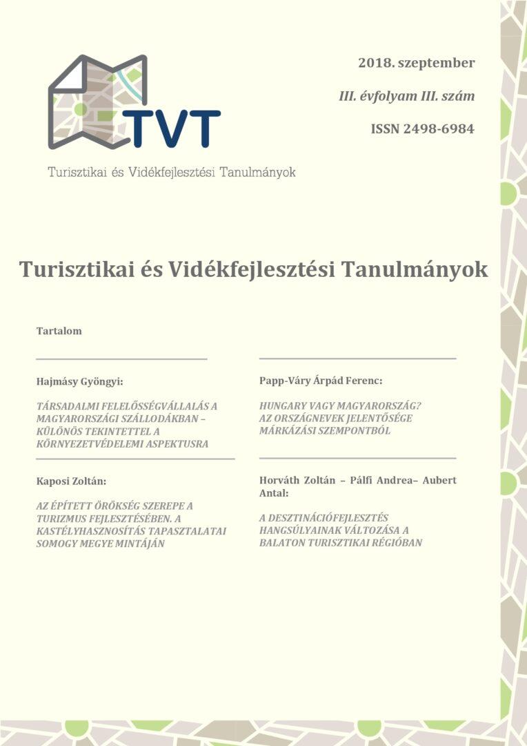 Turisztikai és Vidékfejlesztési Tanulmányok III. évfolyam 3. szám