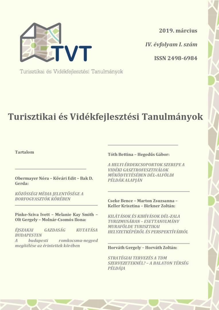 Turisztikai és Vidékfejlesztési Tanulmányok IV. évfolyam I. szám